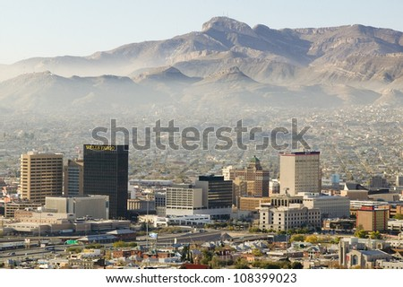 Panoramic view of skyline El Paso Texas looking toward Juarez, Mexico