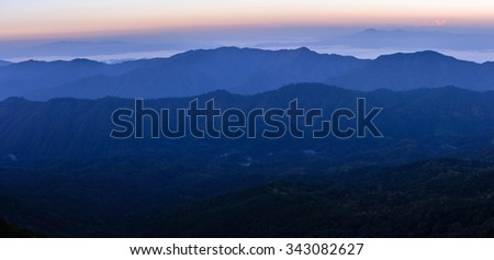 Panoramic view of skyline with mist and mountain at Doi Pha Hom Pok, the second highest mountain in Thailand, Chiang Mai, Thailand.