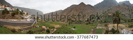 Panoramic view of small village with plantation fields on La Gomera, Canary Islands, Spain