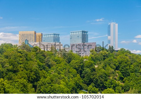 Panoramic view of some skyscrapers in the European quartier in Luxembourg