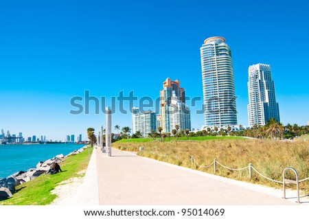 Panoramic view of South Pointe Park in the South Beach area of Miami Beach