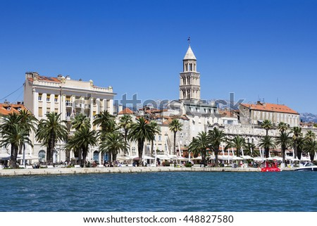 Panoramic view of Split and tower Palace of Diocletian in Croatia - stock photo
