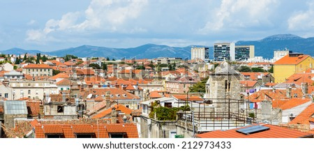 Panoramic view of Split, Croatia. It is the second-largest city of Croatia and the largest city of the region of Dalmatia