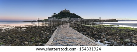Panoramic view of St Michael's Mount a small isle off Marazion near Penzance in Cornwall - stock photo