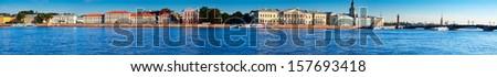 panoramic view of St. Petersburg. Universitetskaya Embankment in summer day - stock photo