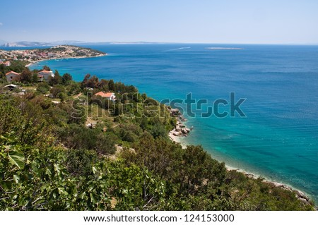 Panoramic view of Stara Baska and sea from up panoramic viewpoint - Krk - Croatia