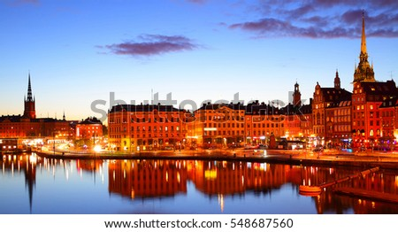 Panoramic view of Stockholm at night, Sweden