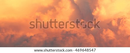 Panoramic view of storm clouds at sunset (background)