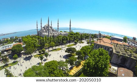 Panoramic view of Sultanahmet Cami and Square from above. Blue Mosque Aerial - stock photo