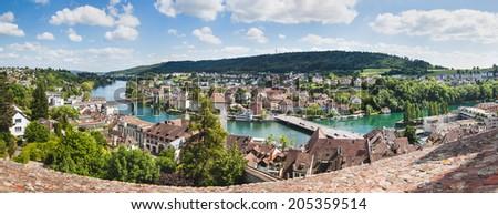 Panoramic view of Swiss town Schaffhausen. River Rhine. - stock photo
