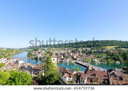 Panoramic View Swiss Town Schaffhausen River Stock Photo - Swiss river to the rhine