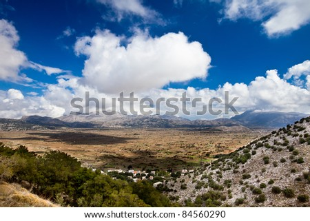 Panoramic view of tableland Lasithi in Crete, Greece. - stock photo