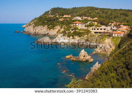 Panoramic view of Talomone coast in Tuscany
