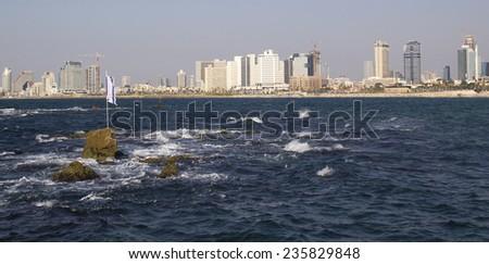 Panoramic view of Tel-Aviv beach  from Mediterranean Sea. Israel - stock photo