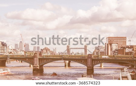 Panoramic view of Thames River London UK vintage