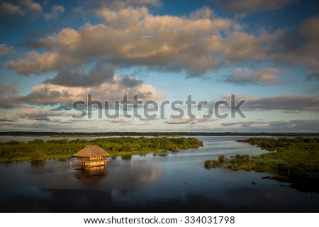 Panoramic view of the Amazon River at the afternoon. Iquitos, Peru. - stock photo