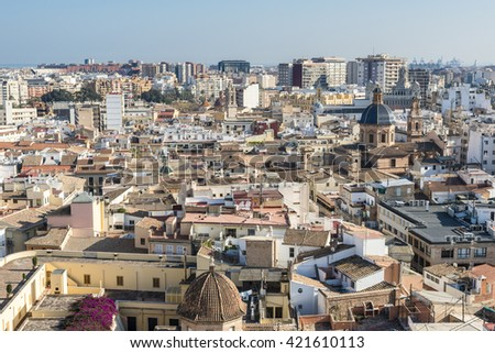 Panoramic view of the ancient beautiful city of Valencia. Spain.