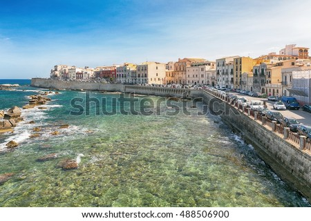 Panoramic view of the ancient Ortigia island, Syracuse, Sicily. Italy.