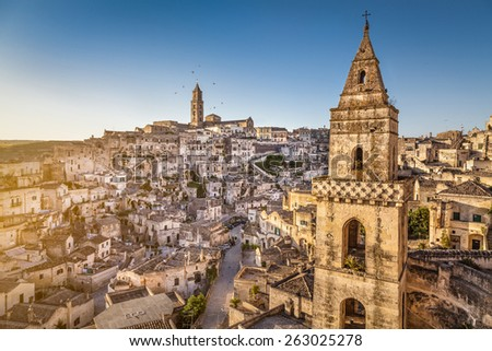 Panoramic view of the ancient town of Matera (Sassi di Matera), European Capital of Culture 2019, in beautiful golden morning light, Basilicata, southern Italy - stock photo
