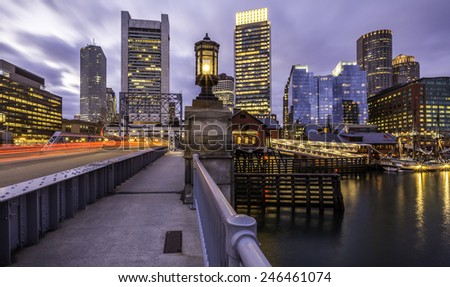 Panoramic view of the architecture of Boston in Massachusetts, USA at sunset. - stock photo