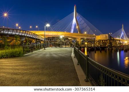 Panoramic view of the architecture of the Zakim Bridge in Boston, Massachusetts, USA at Sunset. - stock photo
