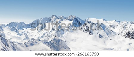 Panoramic View of the Austrian Alps from Hochgurgl in Austria - stock photo