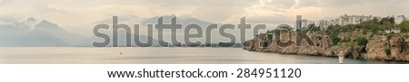Panoramic view of the bay and the mountains at Antalya Turkey  - stock photo