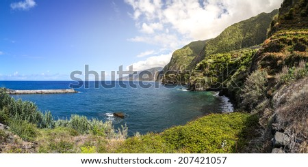 Panoramic view of the bay of Seixal in Madeira