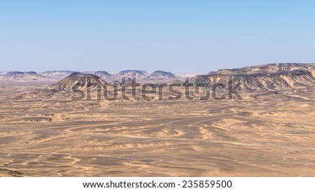 Panoramic view of the Black desert in Egypt