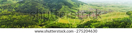 Panoramic view of the black forest and typical village. Germany. Europe. - stock photo