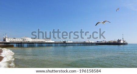 Panoramic view of the Brighton Pier - stock photo