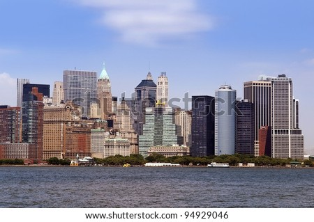 Panoramic view of the buildings and skyscrapers of down-town Manhattan, New York City