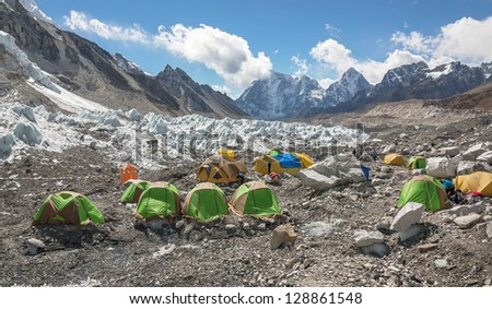 Panoramic view of the camp of climbers on Khumbu glacier near legendary place EBC - Nepal, Himalayas - stock photo