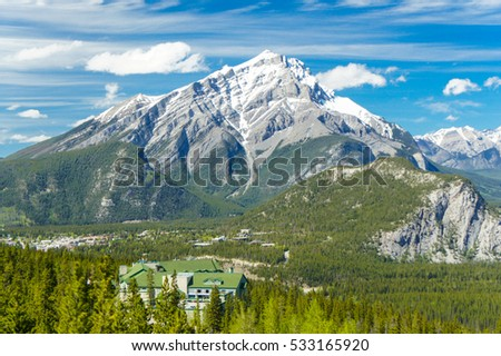Panoramic view of the Canadian Rockies Mountains in Banff, Alberta