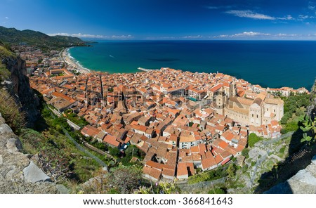 Panoramic view of the Cefalu, Sicily island in Italy. Lovely sea and mediterranean historical houses. Province of Palermo.