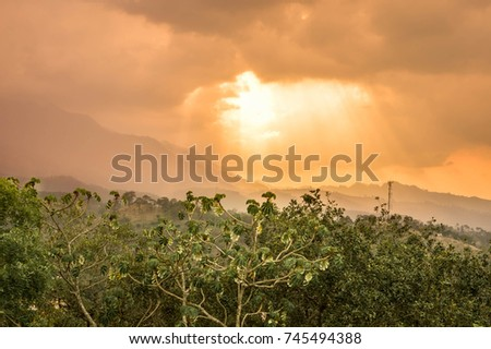 Panoramic view of the Celaque mountain and National during early sunset hours seen from the Castillo San Cristobal, in Gracias, Honduras. Central America