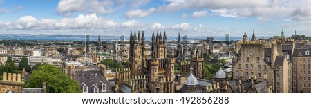Panoramic view of the centre of Edinburgh in Scotland on a cloudy day