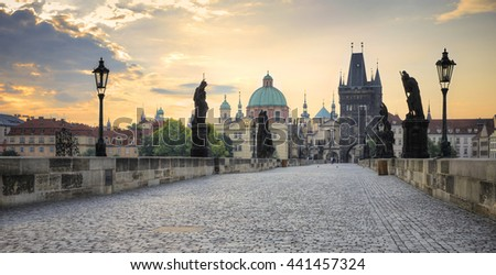 Panoramic view of the Charles Bridge over the Vitava River, Prague, Czech Republic
