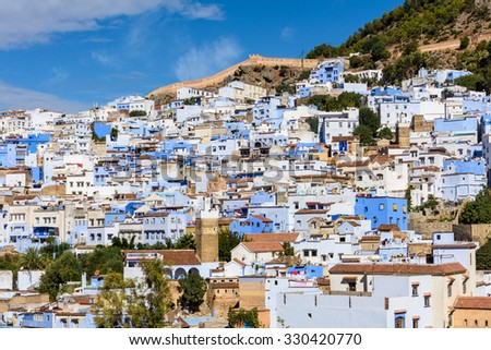 Panoramic view of the Chefchaouen, small town in northwest Morocco famous by its blue buildings - stock photo