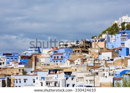 Panoramic view of the Chefchaouen, small town in northwest Morocco famous by its blue buildings