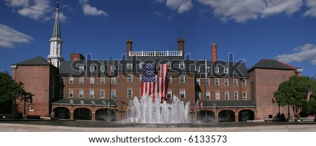 Panoramic view of the city administration in old town in Alexandria City, Virginia. Besides serving an administrative purpose the square is home to farmers' markets and events - stock photo