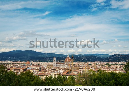 Panoramic view of the city from Forte Belvedere. Florence, Italy. - stock photo