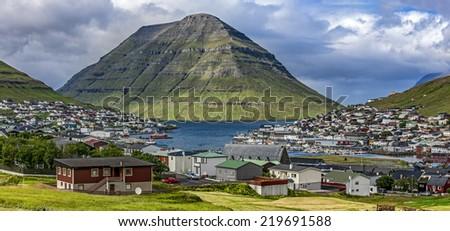 Panoramic View of the city of Klaksvik, Faroe Islands, Denmark, in the North Atlantic. - stock photo
