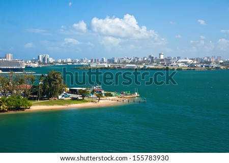Panoramic view of the city of Old San Juan, Puerto Rico - stock photo