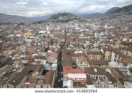 Panoramic view of the city of Quito in Ecuador