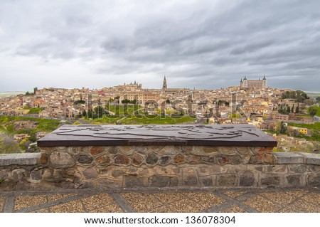 Panoramic view of the city of Toledo, Spain - stock photo