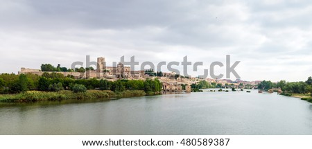 panoramic view of the city of Zamora and Douro river
