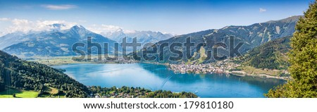 Panoramic view of the city of Zell am See with Zeller Lake in Salzburger Land, Austria - stock photo