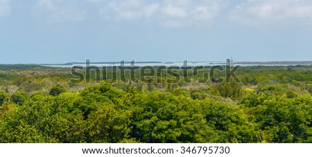 Panoramic view of the coast of the Cayo Largo tropical island close to Cuba  - stock photo