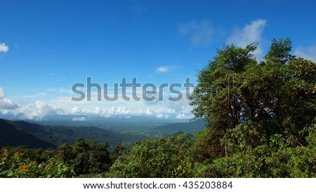 Panoramic view of the Ecuadorian Amazon seen from the viewpoint near the village of Cosanga. Ecuador